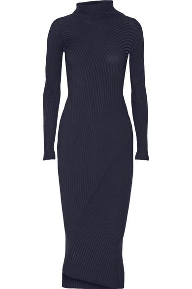 Ayla ribbed-knit turtleneck midi dress