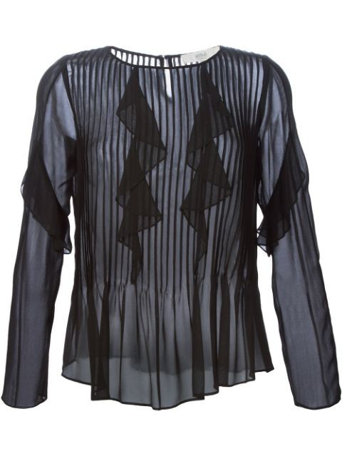 pleated ruffled blouse