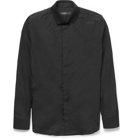 Embroidered-Star Contrast Jersey Shirt