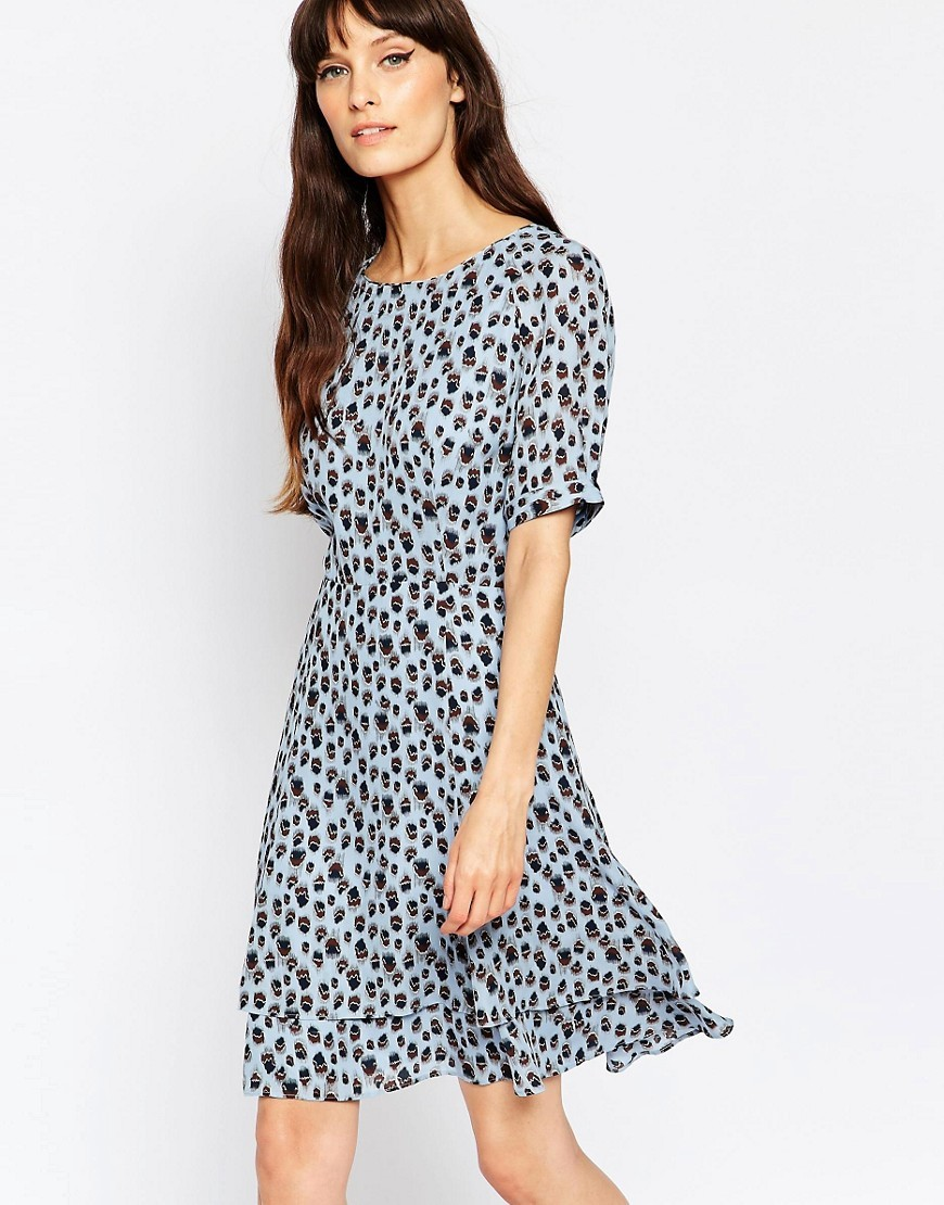 Reiss Jules Printed Dress with High Neck