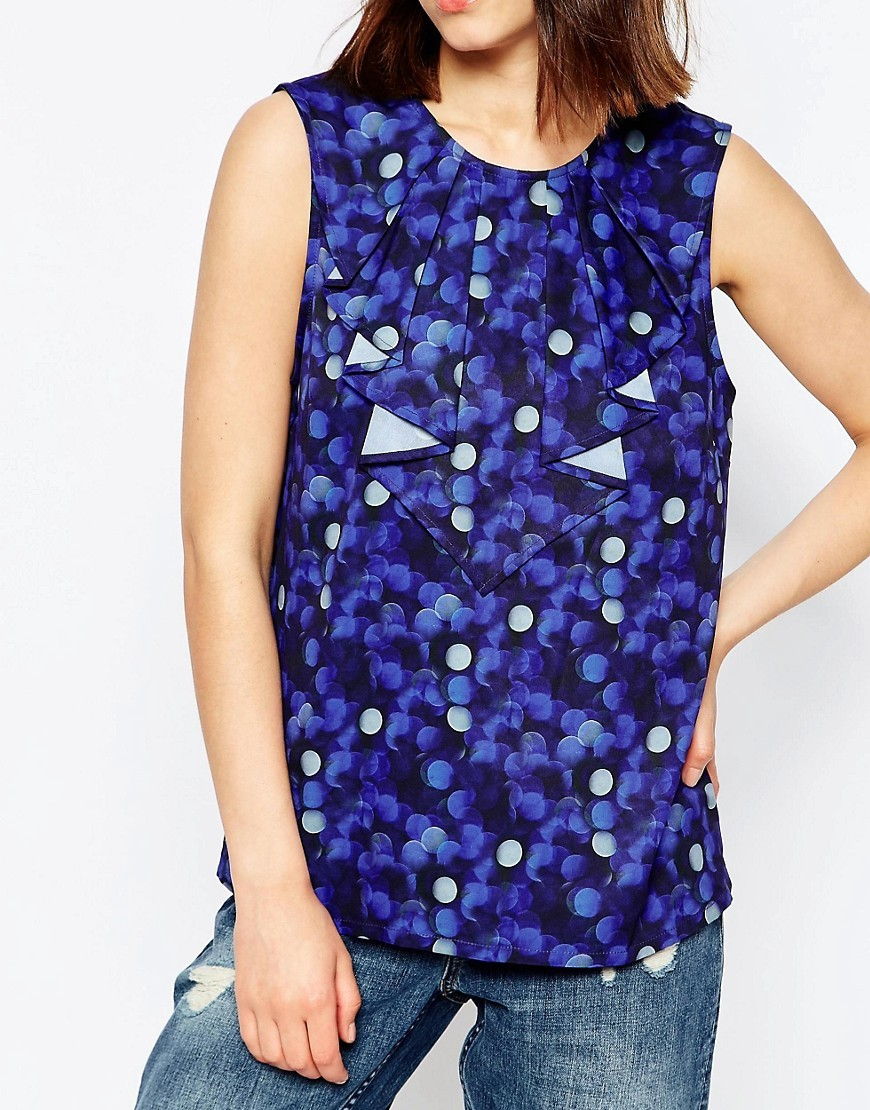 Y.A.S Bubble Print Sleeveless Ruffle Top