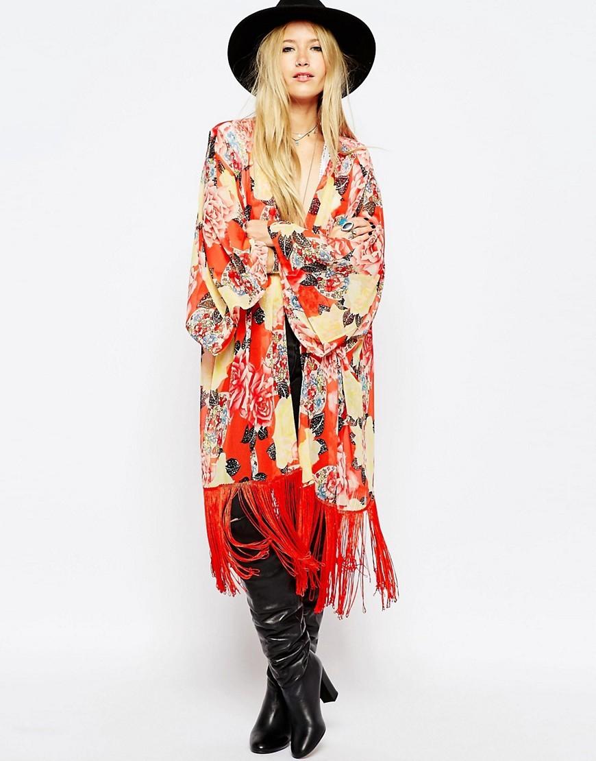 ASOS Rose Floral Print Kimono