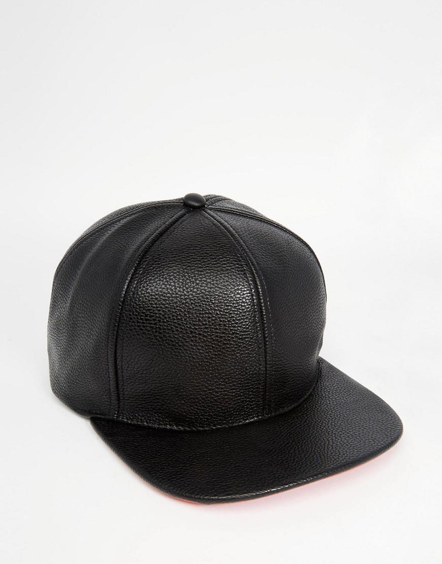 ASOS Snapback Cap In Black Faux Leather
