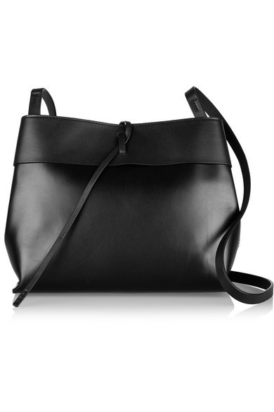 Tie leather shoulder bag