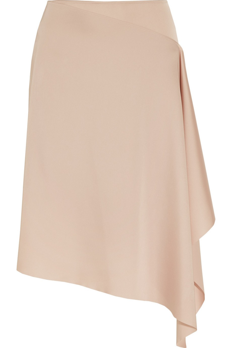 Asymmetric satin skirt
