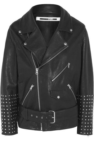 Oversized studded textured-leather biker jacket