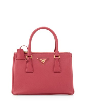 Saffiano Double-Zip Crossbody Mini Bag, Pink