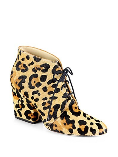 Roger Leopard-Print Calf Hair Ankle Boots