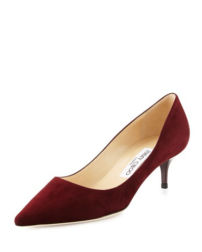 Aza Suede Kitten-Heel Pump, Dark Red