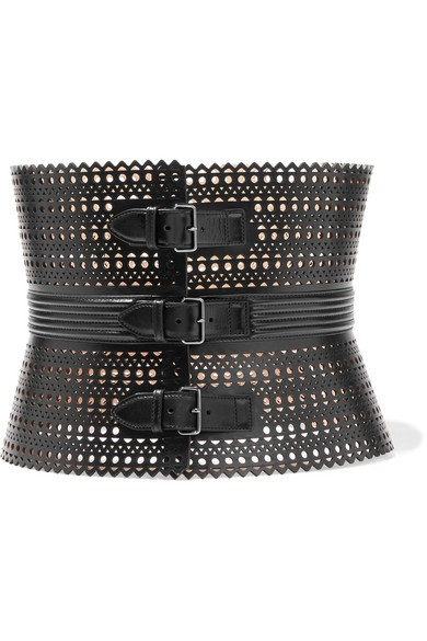 Vienne laser-cut leather waist belt