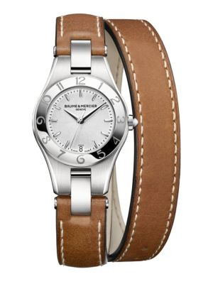 Goldtone IP Stainless Steel & Leather Strap Watch/Tan
