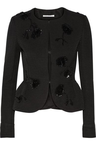 Sequin-embellished jacquard peplum jacket