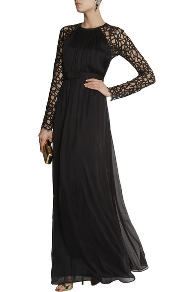 Long Lily lace and silk-blend chiffon gown