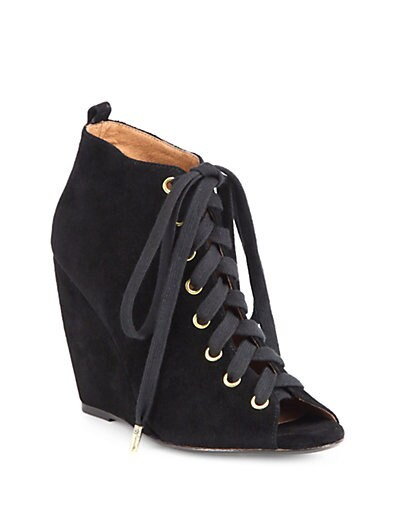 Rainey Suede Lace-Up Wedge Ankle Boots