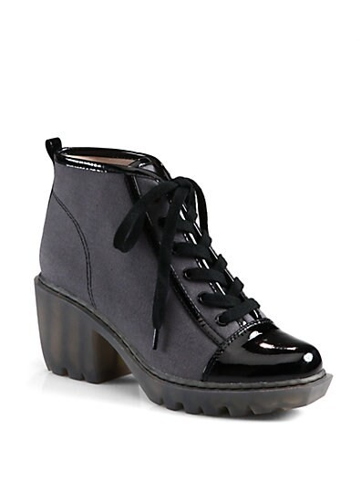 Grunge Canvas & Patent Leather Lace-Up Ankle Boots