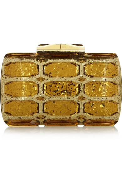 Aristographic glittered plexiglass clutch
