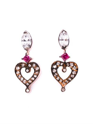 Diamond, ruby & gold love earrings