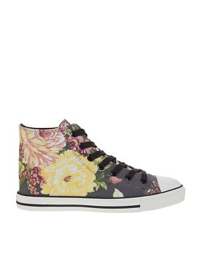 New Look Moloha Oversized Floral Printed Hi Top Sneaker