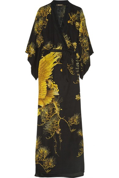 Chimera printed silk crepe de chine kimono-style dress