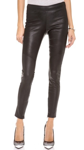 Clean Side Zip Leather Leggings