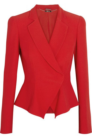 Leaf flared-hem crepe jacket