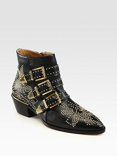 Studded Leather Buckle Ankle Boots