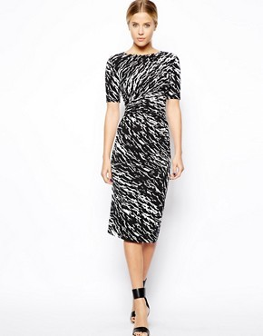ASOS Midi Dress With Ruched Side In Mono Print