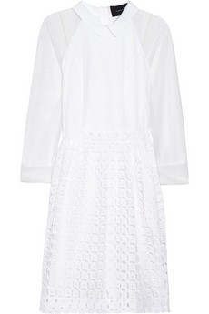 Broderie anglaise cotton and tulle dress