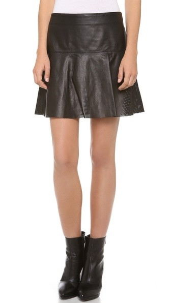 Perforated Leather Skirt