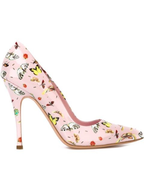 butterfly print stiletto pumps
