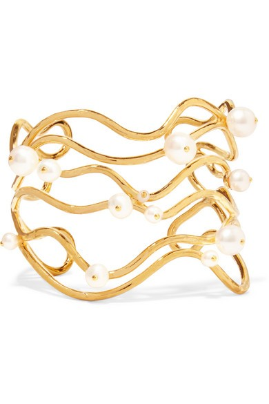 Gold-plated pearl cuff