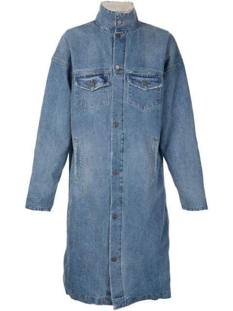 high neck denim coat