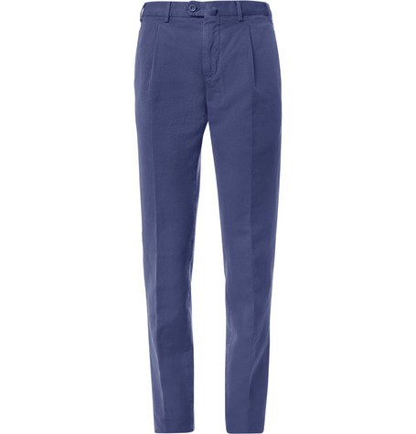 Slim-Fit Pleated Cotton and Linen-Blend Trousers