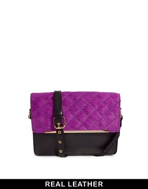 ASOS Leather Quilted Cross Body Bag With Faux Pony
