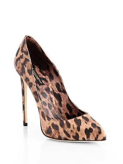 Leopard-Print Leather Pumps