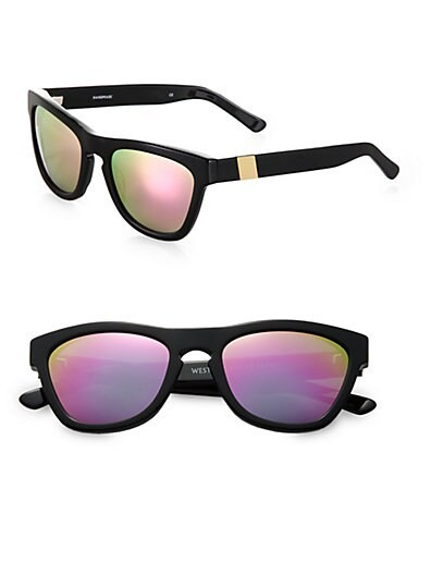 Color Revolutions Acetate Square Sunglasses/Neon Pink