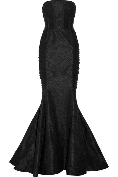 Ruched lace and silk-chiffon gown