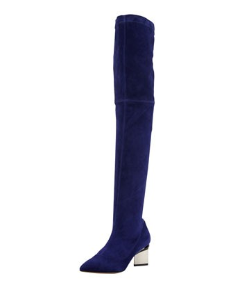 Nicholas Kirkwood Over-the-Knee Metal-Heel Suede Boot, Indigo