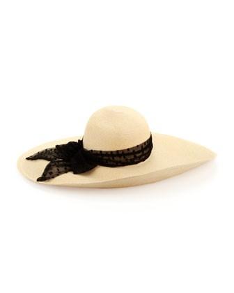 Sunny Wide-Brim Straw Hat, Bone/Black - Eugenia Kim