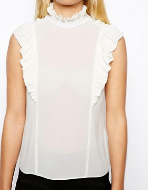 ASOS PETITE Exclusive Ruffle Detail Asymmetric Button Blouse