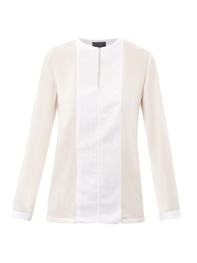 Contrast panel satin blouse