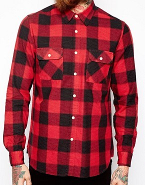 ASOS Buffalo Plaid Shirt In Long Sleeve With Pindot