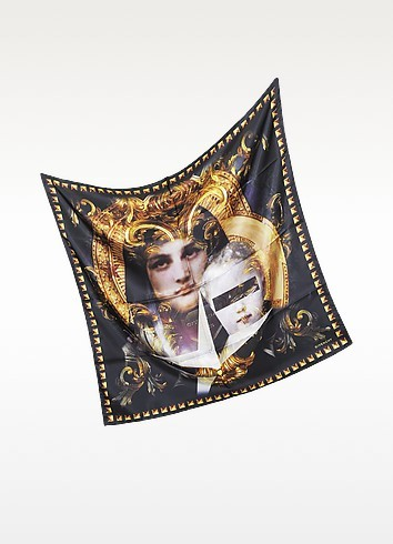 Black and Gold Madonna Print Twill Silk Square Scarf