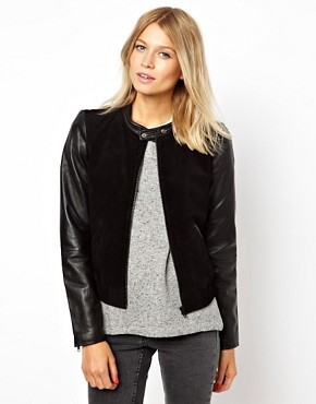 Mango Miranda Leather Sleeve Bomber Jacket