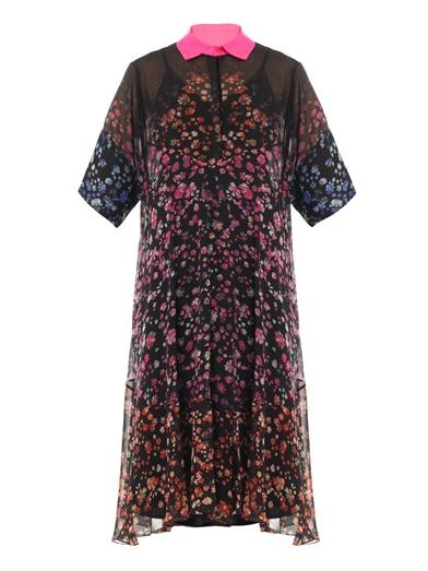 Forget me not-print georgette dress