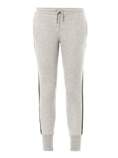 Fleece cotton-jersey stripe sweatpants