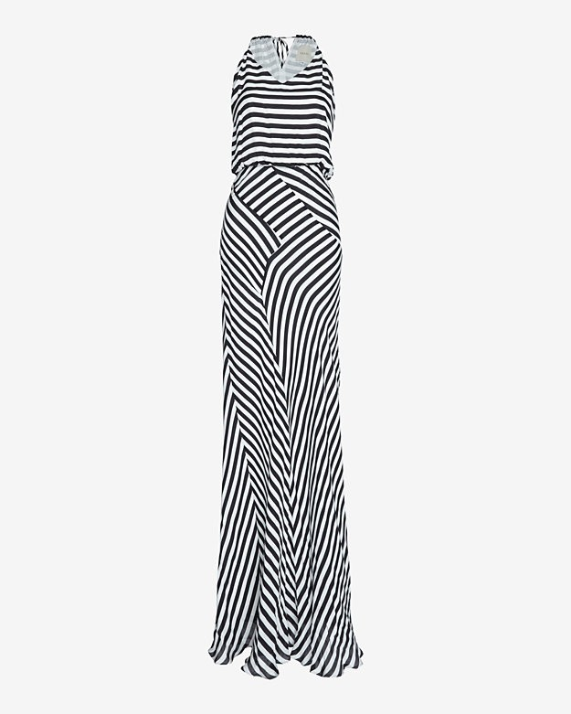 mason by michelle mason Bias Striped Halter Maxi Dress