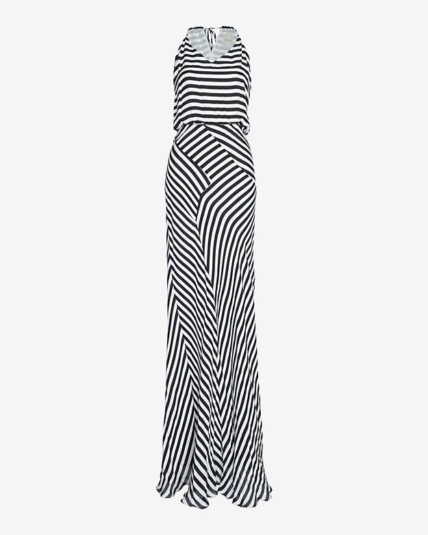 mason by michelle mason Bias Striped Halter Maxi Dress