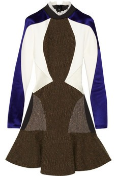 Stefania paneled crepe and tweed dress
