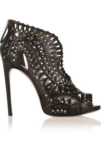 Studded cutout leather sandals